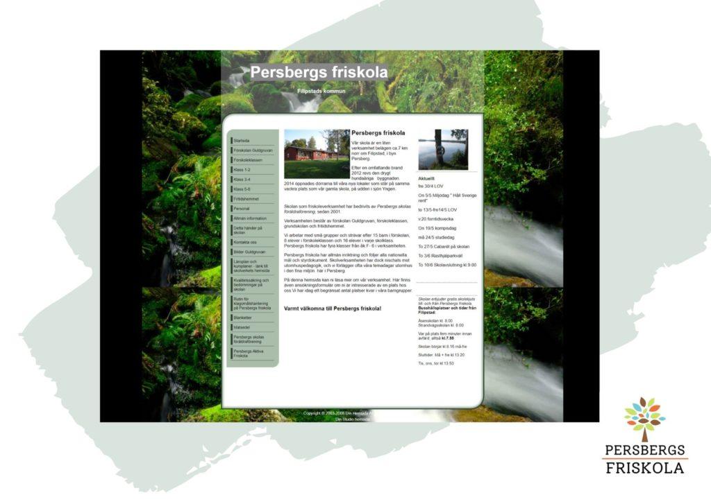 Skärmdump av Persbergs friskolas gamla hemsida