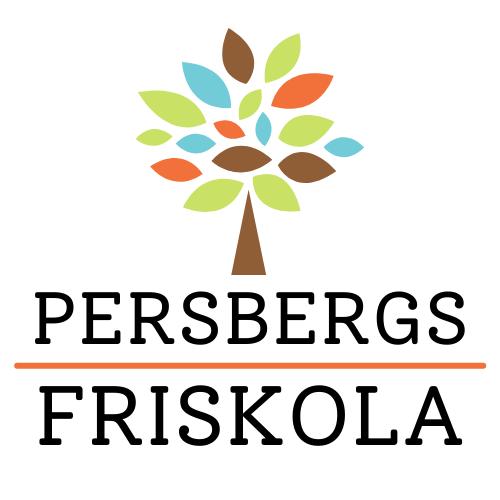 Persbergs friskolas logotyp som består av ett illustrerat träd med gröna, bruna, turkosa och orangea blad och brun stam samt texten Persbergs friskola i svart.