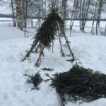 Granrisklädd koja ute i snöigt landskap
